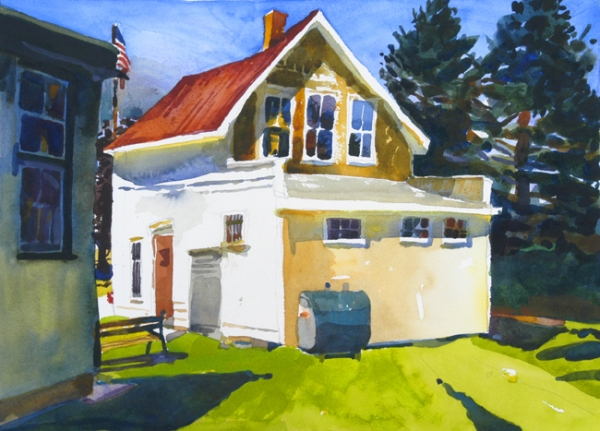 """U.S. Post Office, Owls Head, Maine 04854 "", by Robert Leedy, 2006, watercolor on Arches 140 lb hot press paper, 16″ x 21 3/4″"