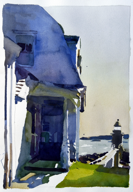 """Port Clyde Lighthouse, Port Clyde, Maine"" by Robert Leedy, 2006, 17 1/2″ x 12 1/4″ , watercolor on Arches 140 lb Cold Press paper,"