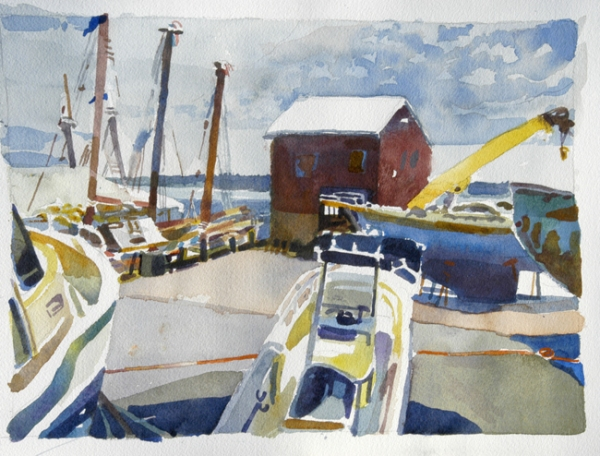 """""""Rockland Boats, Rockland, Maine"""", by Robert Leedy, 2006, 10 1/4″ x 14 1/4″, watercolor on Arches 140 lb Hot Presspaper"""