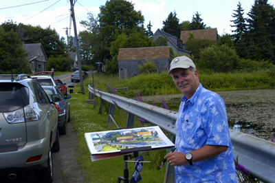 """Robert Leedy painting 'Roadside Bullfrog Pond', Owls Head, Maine, 2006"