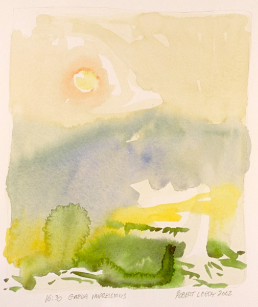 """""""16:30 Garda Impressions"""", by Robert Leedy, 2002, watercolor on Arches Hot Press paper, Collection of theArtist"""