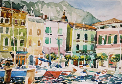 """Gargnano Marina"", by Robert Leedy, 2002, watercolor on Arches hot press paper, 13 1/2″ x 19 1/2″"