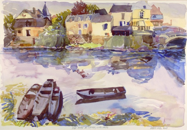 """River Vienne at Chinon, Loire Valley"", by Robert Leedy, 2003, watercolor on Arches cold press paper, 13 3/8″ x 19 3/8″"