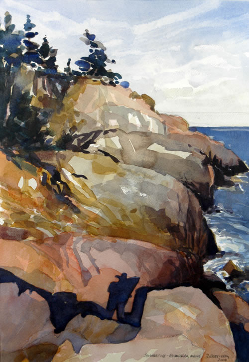 """Squeaker Cove, Monhegan, Maine"", by Robert Leedy, watercolor on Arches 140 lb Cold Press paper, 18.25 x 12.75 in.,"
