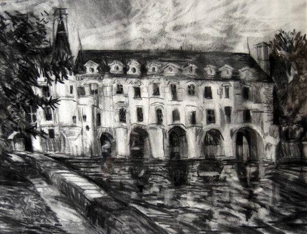 """Château de Chenonceau"", 2003, Photo by Robert Leedy, Charcoal on paper"