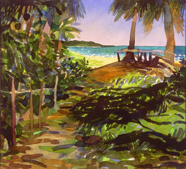 """Playa Nuestra III"", by Robert Leedy, 2003, watercolor on paper, 9 x 11.375 in., Collection of the Artist"