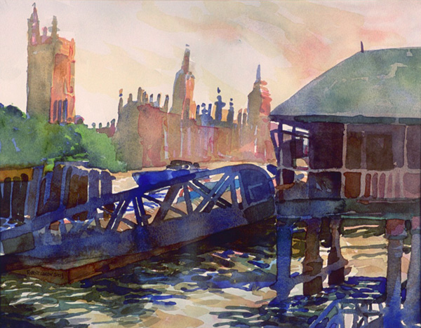 """""""Morning on the Thames"""", by Robert Leedy, 2003, watercolor on paper, 11 x 14.125 in., Collection of theArtist"""