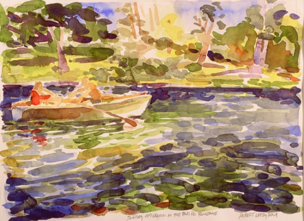 """Bois de Boulogne"", by Robert Leedy 2003, watercolor on Arches hot press paper, 11 x 14.75 in., Collection of the Artist"