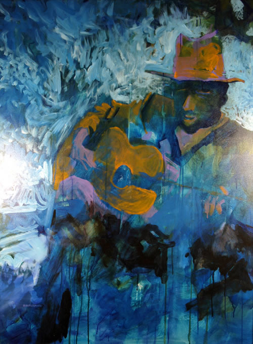 """Blue Man"", by Robert Leedy, 2001, acrylic on canvas, 48 x 36 in., Collection of Mr. & Mrs. William D. Thomas, New York, New York"