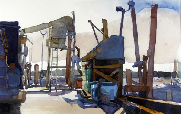 """Rockland Fishing Pier"", by Robert Leedy, 2004, watercolor on Arches Cold Press paper, 12.75 x 20 in., Collection of the Artist"