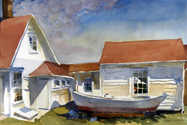 """Keeper's House - Monhegan Island, Maine"", by Robert Leedy, 2004, watercolor on paper, 12.75 x 18.75 in., Collection of the Artist"