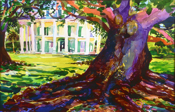 """Oak Alley"", by Robert Leedy, 2000, watercolor on Arches Cold Press paper, 14 x 22 in., Collection of the Artist"