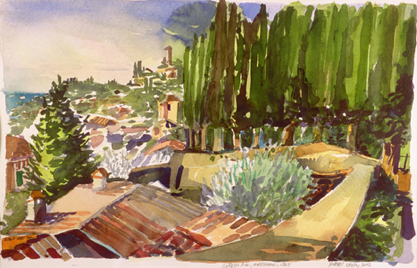 """""""Cypress Row, Gargnano, Italy"""", by Robert Leedy, 2002, watercolor on paper, 11.75 x 18.125 in., Collection of theArtist"""