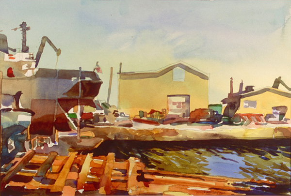 """Rockland Shipyard, Maine"", by Robert Leedy, 2002, watercolor on Arches Cold Press paper, 12.5 x 18.5 in., Collection of the Artist"