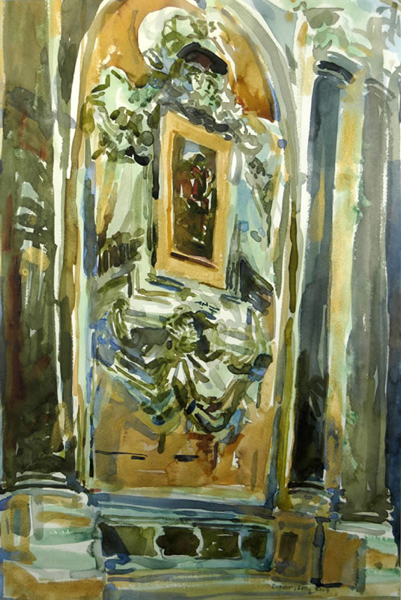 """Venetian Atelier"", by Robert Leedy, 2003, watercolor on paper, 21.875 x 14.625 in., Collection of the Artist"
