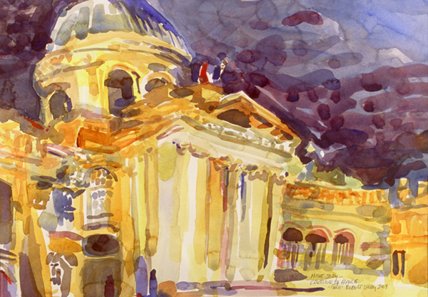 """""""Night Study - l'Institut de France, Paris"""", by Robert Leedy, 2003, watercolor on Arches Hot Press paper, 13.5 x 19.5 in., Collection of theArtist"""