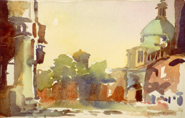 """Piazza Ducale, Mantua"", by Robert Leedy, 2002, watercolor on paper, 6 x 9.375 in., Collection of the Artist"