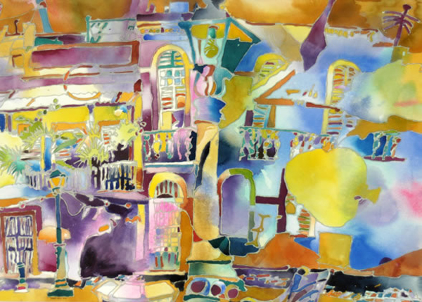 """Calle San Sebastián, Viejo San Juan"", by Robert Leedy, 2001, watercolor and mixed media on paper, 20.375 x 28.375 in., Collection of the Artist"