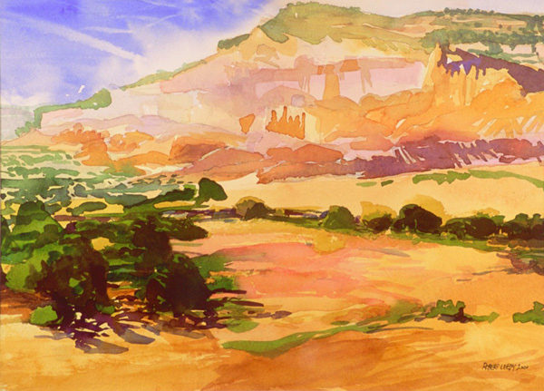 """Ghost Ranch"", by Robert Leedy, 2001, watercolor on paper, 9.75 x 13.375 in., Collection of the Artist"
