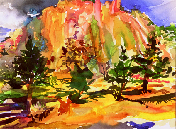 """Bandelier National Monument"", by Robert Leedy, 2000, watercolor on paper, 11.5 x 15.5 in., Collection of the Artist"
