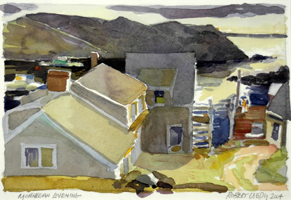 """Monhegan Evening"", by Robert Leedy, 2004, watercolor on Arches 140 lb. Cold Press paper. 6.5 x 9.5 in., Collection of the Artist"