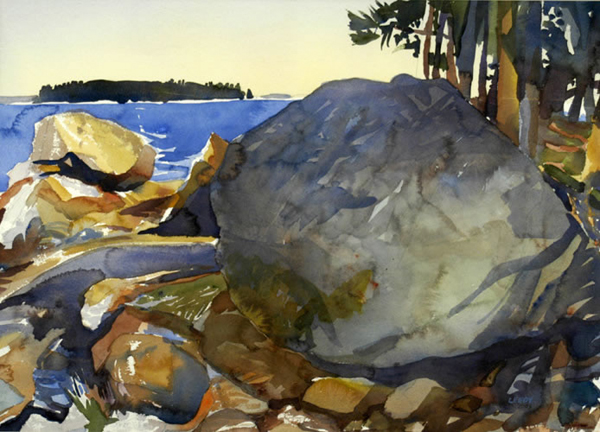 """""""Maine Rockscape II"""", by Robert Leedy, 2002, watercolor on Arches 300 lb. paper, 19.875 x 27.875 in., Collection of theArtist"""
