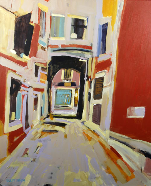 """Calle de le Boteghe II - Venice"", by Robert Leedy, 2005, acrylic on canvas, 24.25 x 19.75 in., Collection of the Artist"