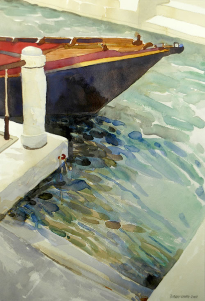 """""""Venetian Parking Space"""", by Robert Leedy, 2003, watercolor on paper, 18.75 x 12.875 in., Collection of theArtist"""