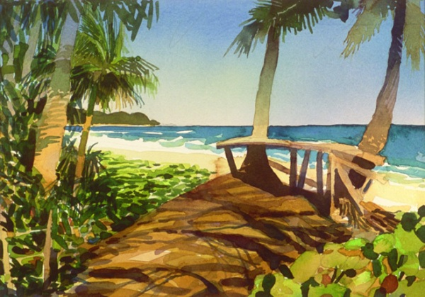 """""""Playa Nuestra II"""", by Robert Leedy, 2003, watercolor on paper, 9.25 x 13.125 in., Collection of theArtist"""