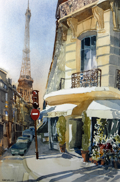 """rue de Monttessuy"", by Robert Leedy, 2004, watercolor on paper, Collection of Dr. & Mrs. José Mart�nez-Salas, Winter Haven, Florida"