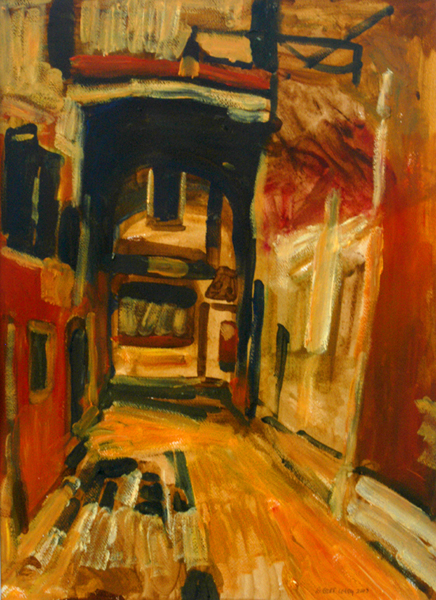 """""""Calle de le Boteghe I - Venice"""", by Robert Leedy, 2003, acrylic on masonite, Collection of Mr. Fred McCord, Tallahassee,Florida"""