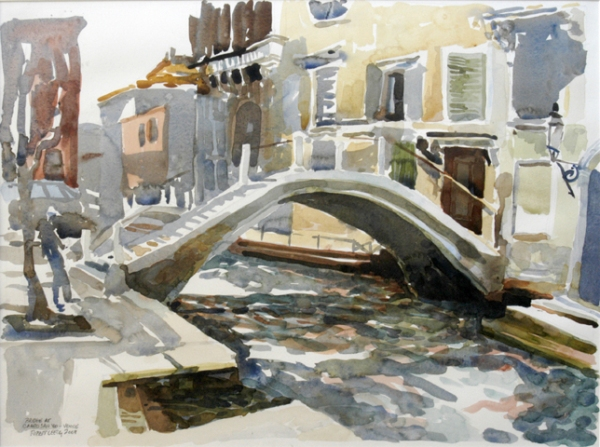 """Bridge at Campo San Vio"", by Robert Leedy, 2003, watercolor on paper, Collection of Mr. & Mrs. Barnwell R. Daley, Jacksonville, Florida"