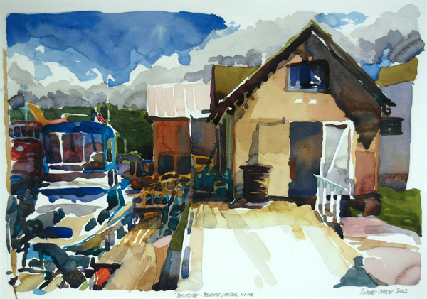 "Dockside, Belfast Harbor, Maine"", by Robert Leedy, 2002, watercolor on Arches Hot Press paper, Collection of Mr. & Mrs. Homer H. Humphries, Ponte Vedra Beach, Florida"