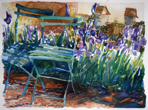 """Garden Chairs at Hôtel Baudy, Giverny, France"", by Robert Leedy, 2003, watecolor on paper, Collection of Amy Carol Roberts, Neptune Beach, Florida"