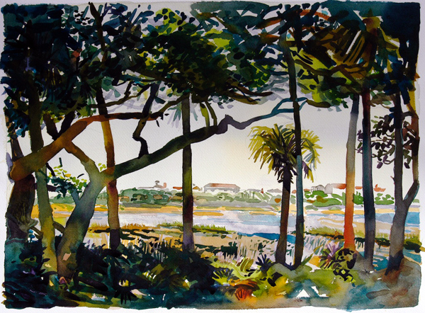 """'""""Guana River II: The Outpost Painting"""", by Robert Leedy, 2007, watercolor on Arches 140 lb. cold press paper, 18 x24 in., Collection of theArtist"""