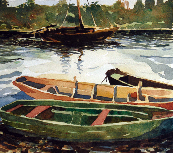 """""""Loire Working Boats"""", by Robert Leedy, 2003, watercolor on paper, Collection of Mary Loftus, Paris,France"""