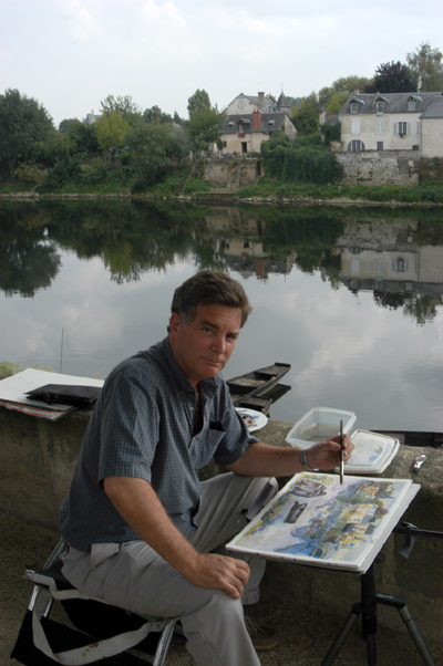 """Robert Leedy Painting at Chinon"". 2003, photograph credited to either Vicky Pagán-Leedy or Monica Laird"