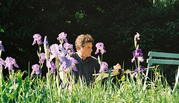 """Robert Painting at Hôtel Baudy, Giverny, France"", May 2003, photograph by Vicky Pagán-Leedy"