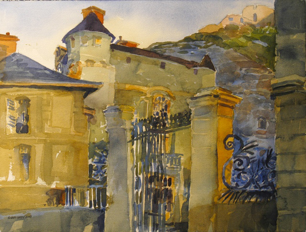 """Château de la Roche-Guyon"", by Robert Leedy, 2002, watercolor on paper, Collection of Mr. & Mrs. Homer H. Humphries, Ponte Vedra Beach, Florida"