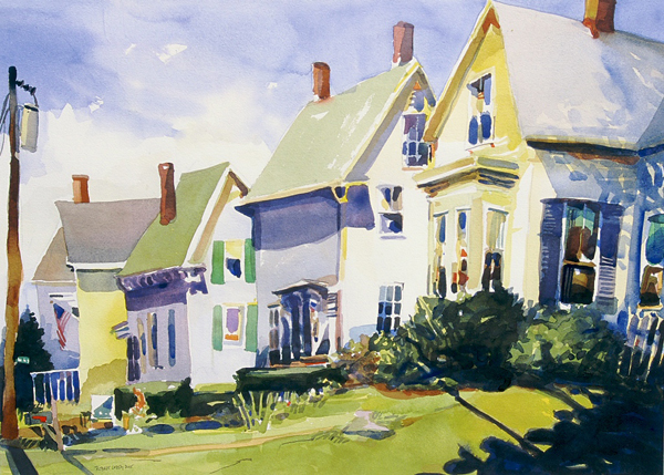"""""""Rockland Neighbors"""", by Robert Leedy, 2005, watercolor on Arches 140 lb. Hot Press paper, 19 x 26.5 in., Collection of theArtist"""