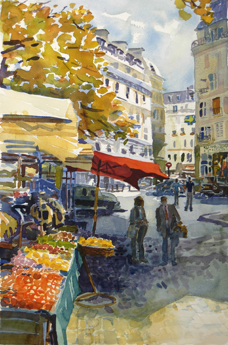 """rue Mouffetard"", by Robert Leedy, 2003, watercolor on paper, Collection of Mr. & Mrs. David Epstein, Jacksonville, Florida"