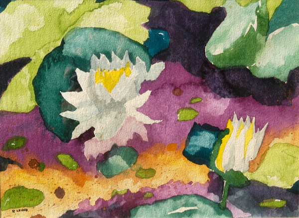 """""""Water Lillies I"""", by Robert Leedy, 1977, watercolor on paper, 12.75 x 17.5 in., Collection of theArtist"""