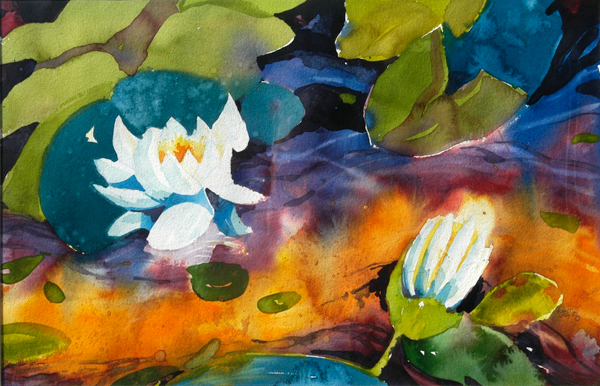 """Water Lillies II"", by Robert Leedy, 1989, watercolor on paper, Collection of the Artist"
