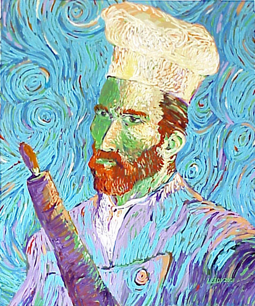 """Chef Gogh"", by Robert Leedy, 2001, acylic on canvas, Collection of Mr. Tim Piazza, Evansville, Indiana"