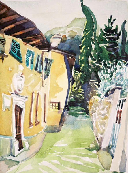 """Italian Hommage to Soutine"", by Robert Leedy, 2003, watercolor on paper, Collection of Karen Martin, Orange Park, Florida"