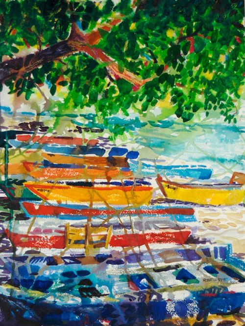 """Yolas de Aguadilla"", by Robert Leedy, 1995, watercolor & watercolor pencils, 16 in. x 12 in., Collection of the Artist"