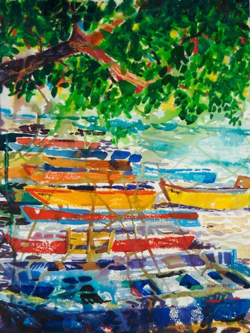 """""""Yolas de Aguadilla"""", by Robert Leedy, 1995, watercolor & watercolor pencils, 16 in. x 12 in., Collection of theArtist"""