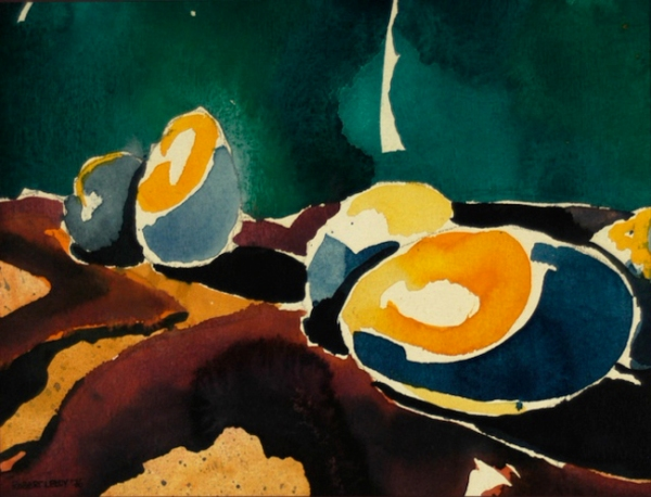 """""""Egg Abstraction I"""", by Robert Leedy, 1976, watercolor on paper, 8 in. x 10.5 in., Collection of theArtist"""