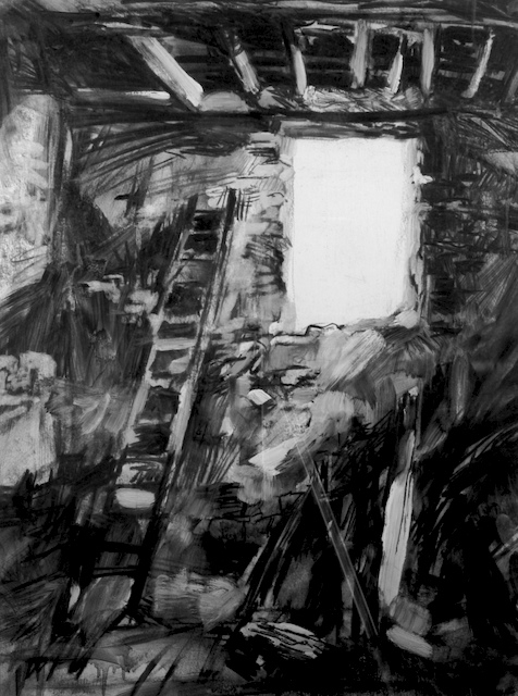 """il Catedrale"", by Robert Leedy, 1993, charcoal on paper, Collection of the Artist"