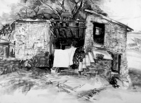 """Barn at Sosa - San Sano, Italy"", by Robert Leedy, 1993, charcoal on paper, Collection of the Artist"
